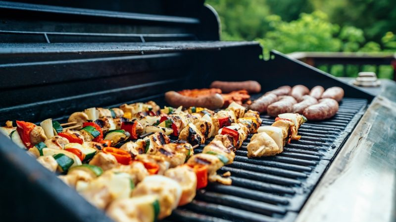 grilled barbecues on black and gray grill