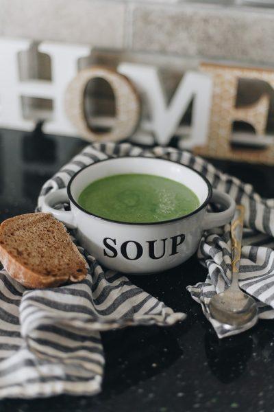green soup in white ceramic bowl